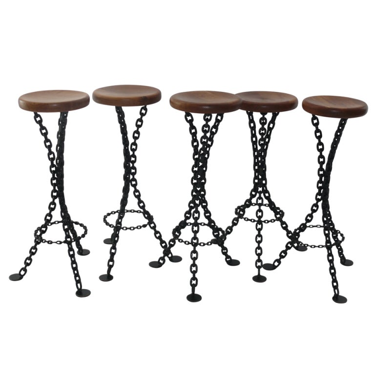 Iron And Chain Bar Stools At 1stdibs