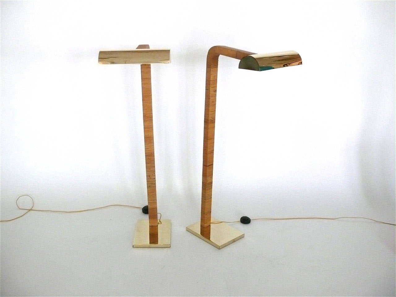 pair of brass and rattan floor lamps by george kovacs at 1stdibs. Black Bedroom Furniture Sets. Home Design Ideas