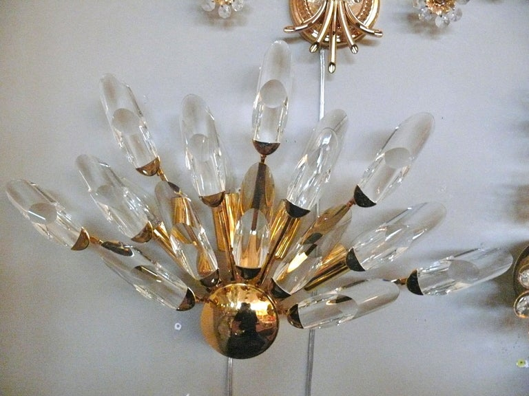 Pair of Italian Glass and Brass Sconces For Sale 6