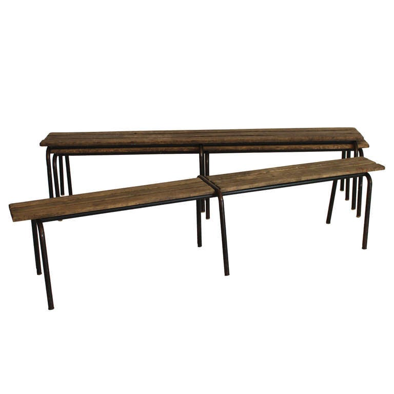 French Wood and Iron Bench 1