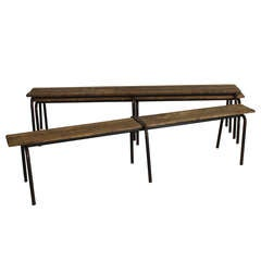 French Wood and Iron Bench