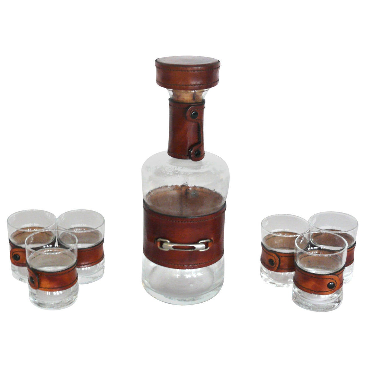 french leather and glass barware set at 1stdibs