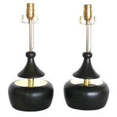 Ebony and Brass Push Lamps