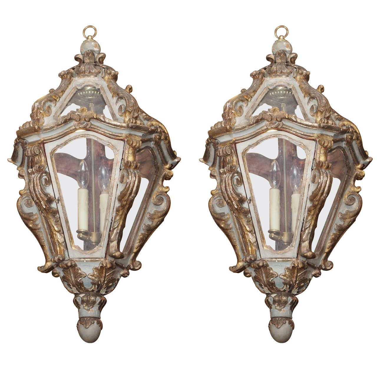 Pair of Italian Parcel-Gilt and Painted Lanterns