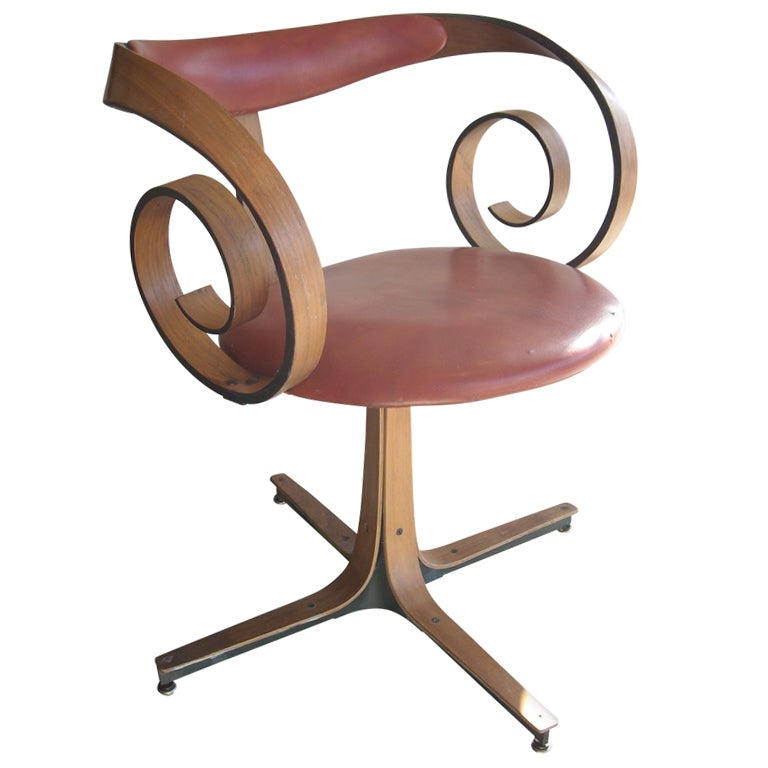 George Mulhauser for Plycraft side/desk swivel chair. For Sale