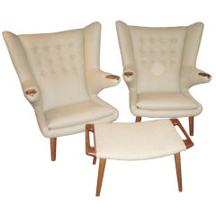 Hans Wegner Papa 2 chairs and ottoman