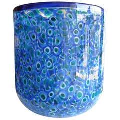 Vistosi Murano Glass Vase with Amazing Murrine Work, Signed