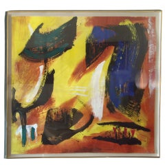 Gerard Schneider acrylic on paper abstract painting, signed, dated.
