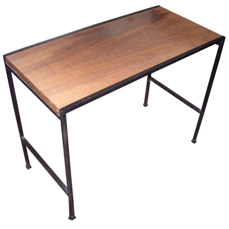 Mel bogart side table in iron and wood side table for for Iron and wood side table