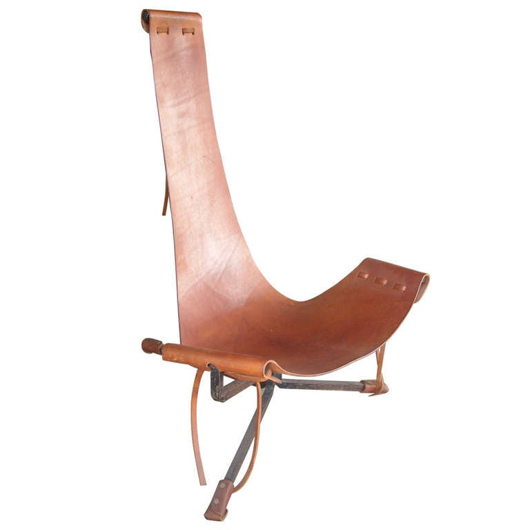 "Daniel Wenger sling leather and iron frame "" Lotus "" chair 1"