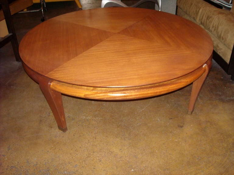 Paul Laszlo Round Mahogany Coffee Cocktail Table By Brown Saltman At 1stdibs