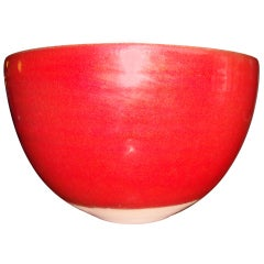 Laura Andreson monumental red fire ceramic bowl , signed