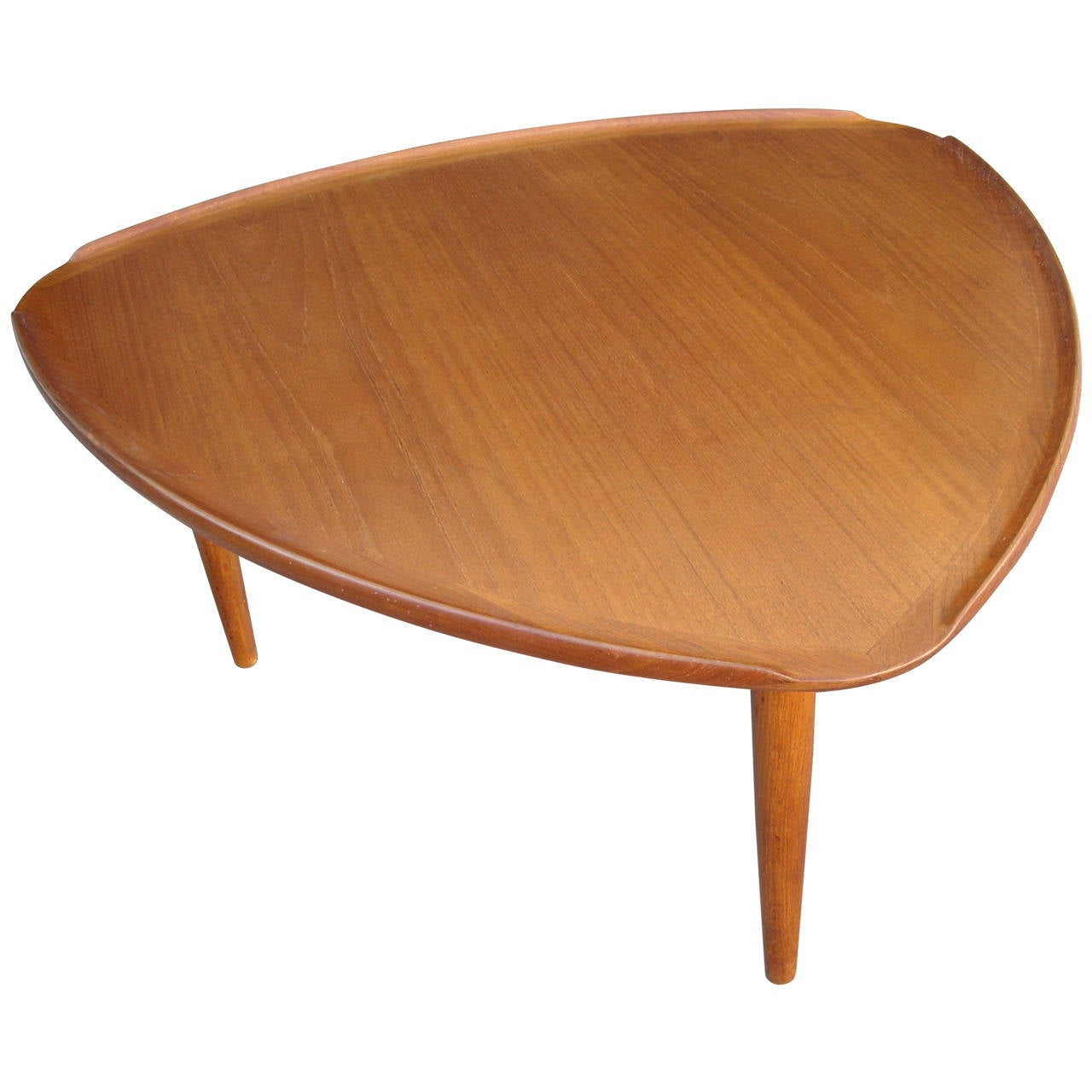 Danish Modern Triangular Teak Side Or Cocktail Coffee Table Stamped At 1stdibs