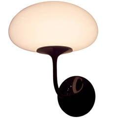 Rare Design Line Mushroom Wall Sconce, Black Enamel.glass Bill Curry