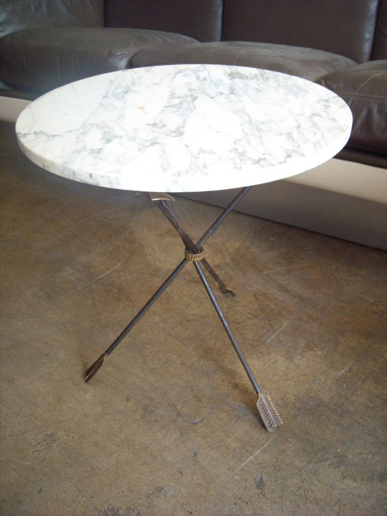 Italian Iron Brass and Marble Table Gueridon with Tripod base