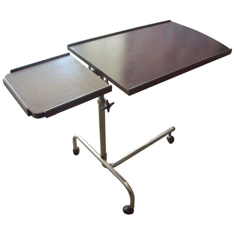 Chrome and Dark Mahogany Danish Tilt Top  Reading Adjustable Trolley/Cart Bar For Sale