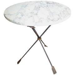 Italian Iron, Brass and Marble Table Gueridon with Tripod base, Gio Ponti Style