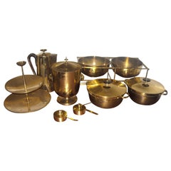 Large Set of Tommi Parzinger Dining Ware for Dorlyn Silversmith, in Brass