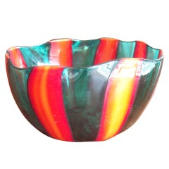 Fulvio Bianconi For Venini Murano Glass Bowl, Signed