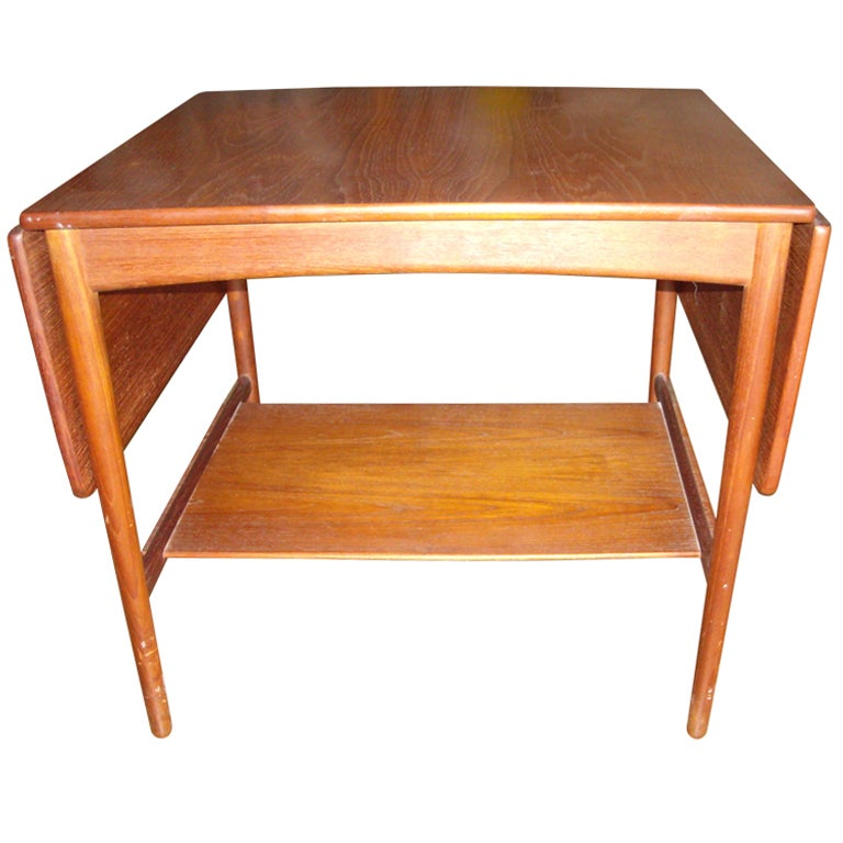 Hans Wegner Drop Leaf Side Table For Andreas Tuck, Stamped 1