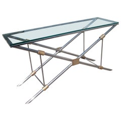John Vesey Polished Aluminum, Brass, Glass Console Table