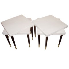 Two pairs of Paul Frankl cork top side/end tables for Johnson.