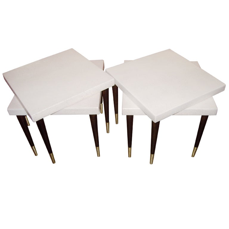 Two Pairs Of Paul Frankl Cork Top Side End Tables For