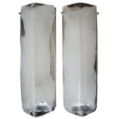 "J T Kalmar pair of  glass ""Ice "" wall  sconces"
