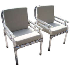 Pair of Jeff Messerschmidt Lucite and Aluminum Armchairs, Signed/Dated