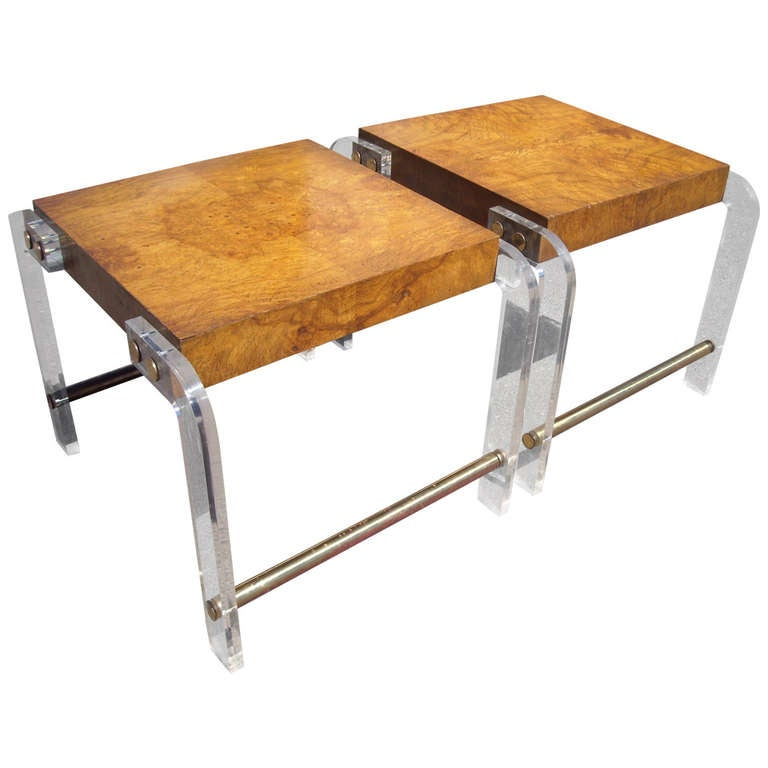 Milo Baughman Pair of Burl, Lucite and Brass Side or End Tables