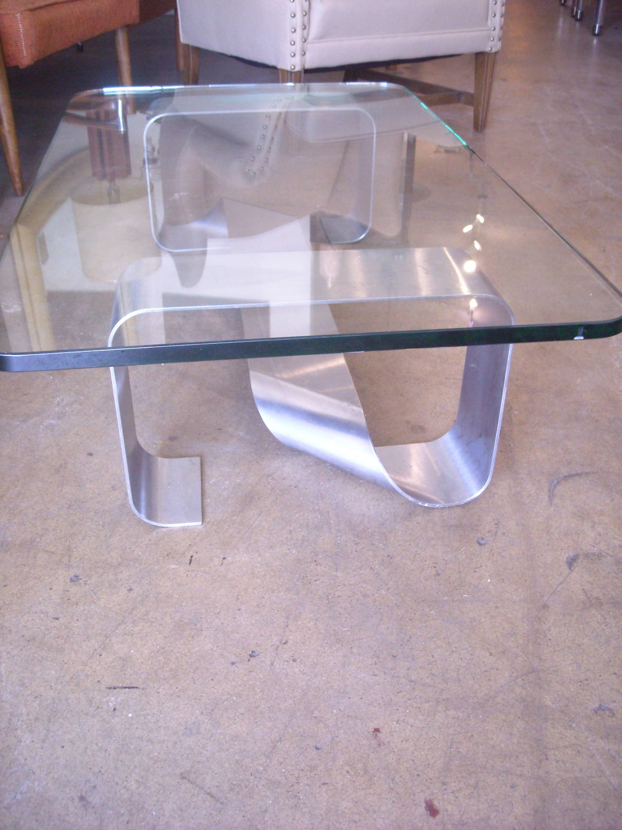 Francois Monnet Stainless Steel Coffee or Cocktail Table and Glass