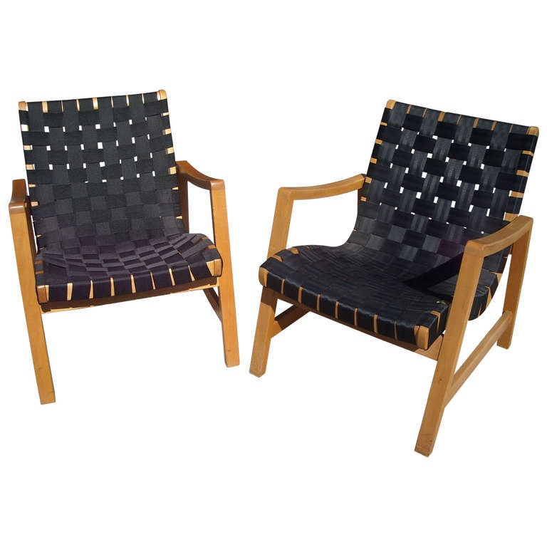 Jens Risom 625 W Strapped Pair of Armchairs by Knoll Label