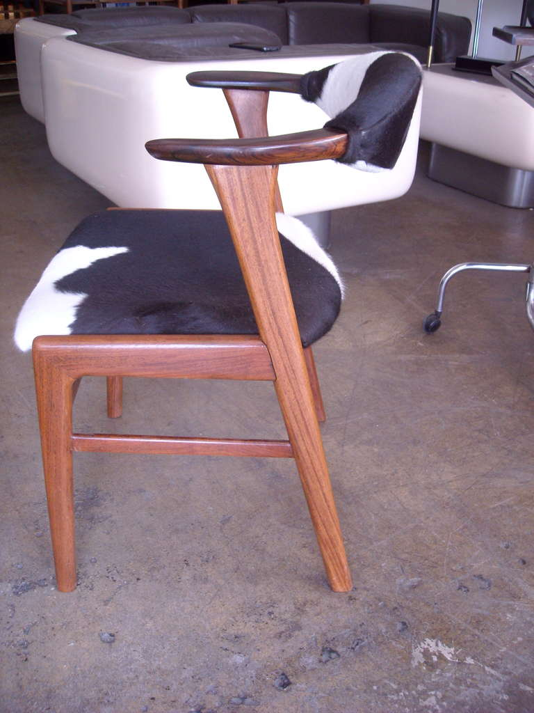 Erik Kirkegaard Rosewood And Cow Hide Pony Skin Desk Or Side Chair In  Excellent Condition For
