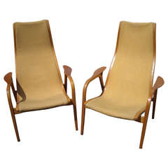 Yngve Ekstrom Pair of Lamino High Back Lounge Chairs