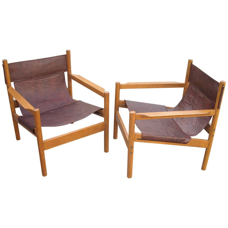 Pair of Michel Arnoult sling leather Safari chairs , Brazil