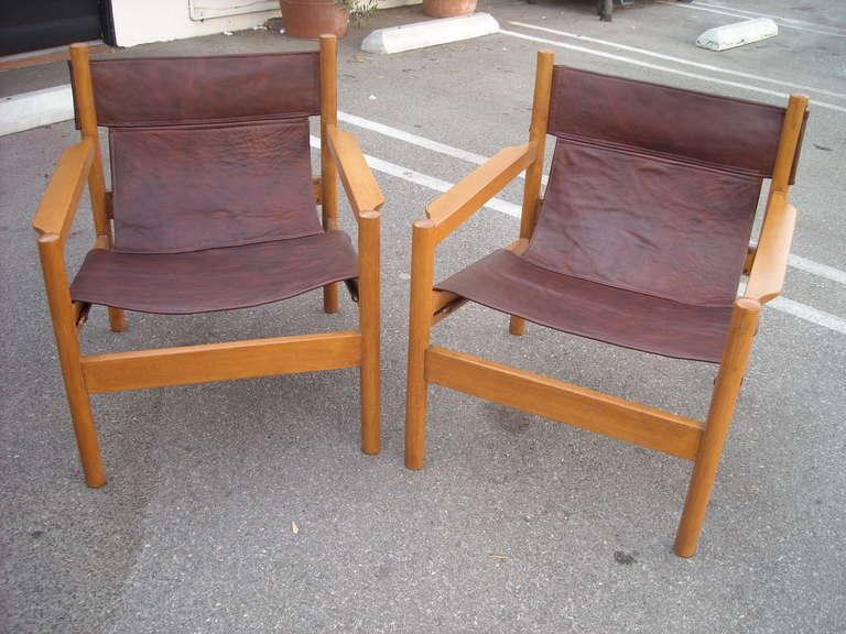 Pair of Michel Arnoult sling leather Safari chairs , Brazil In Good Condition In Los Angeles, CA