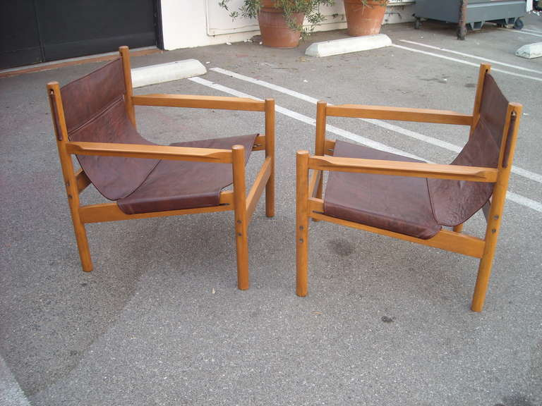 Brazilian Pair of Michel Arnoult sling leather Safari chairs , Brazil