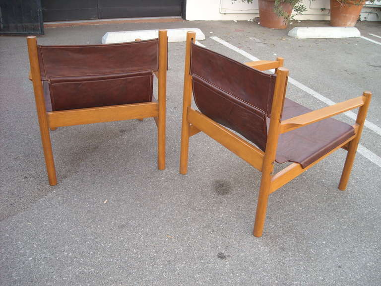 Mid-Century Modern Pair of Michel Arnoult sling leather Safari chairs , Brazil