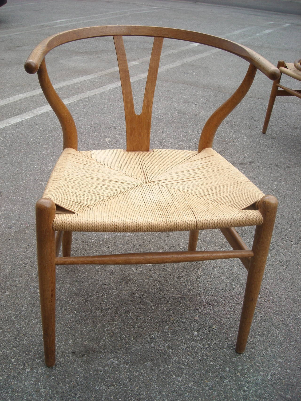 Traditional and well known the y chair or wishbone in oak designed by hans wegner