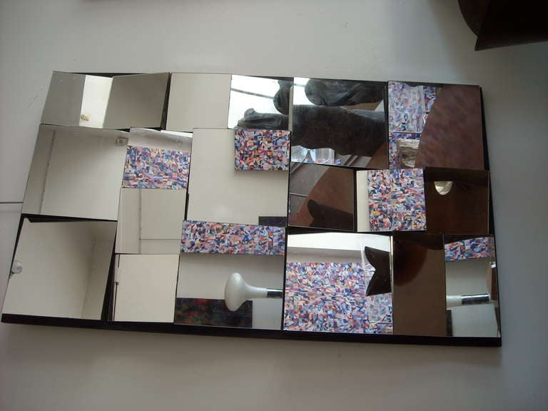 Mid-Century Modern Vintage abstract,facetted, cubist wall mirror in style of Neal Small