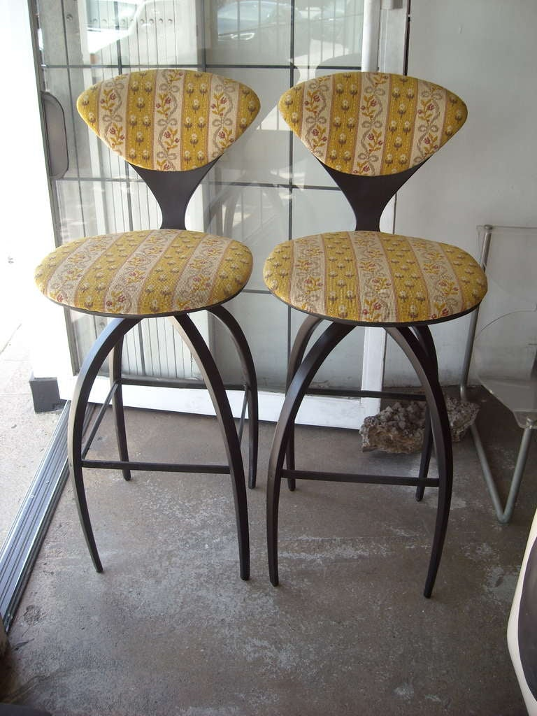 Plycraft Pair Of Early Bentwood Bar Stools Designed For