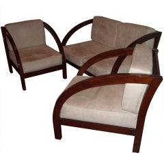 Paul Frankl Art Deco Pair of D Chairs and Loveseat/Settee Suite