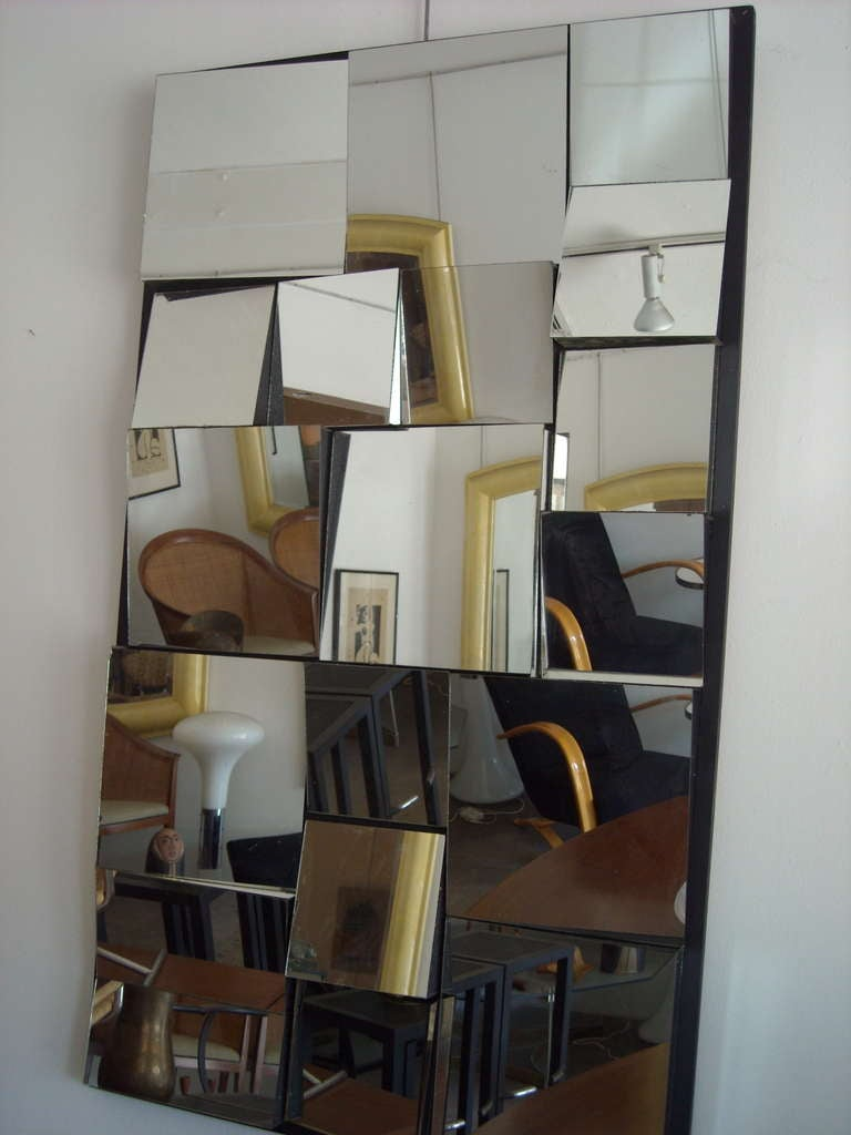 American Vintage abstract,facetted, cubist wall mirror in style of Neal Small