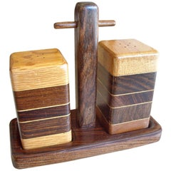 Don Shoemaker Salt and Pepper Set with Tray of Rosewood, Oak and Mixed Woods