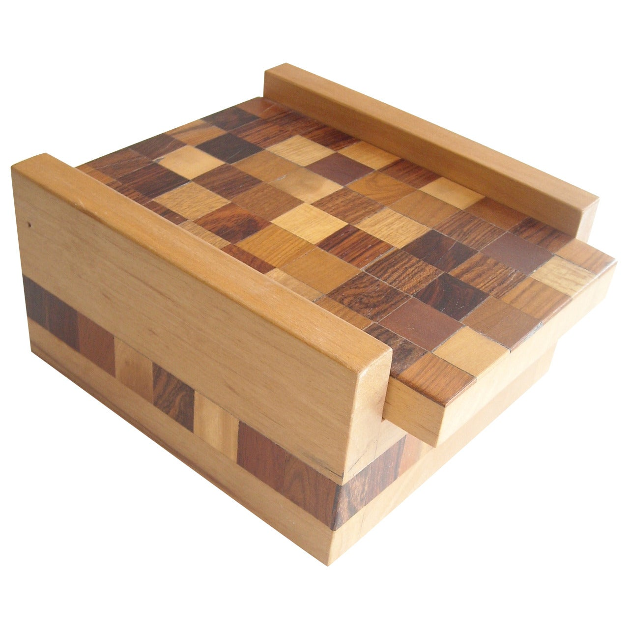 Don Shoemaker Parquetry Work Box for Senal SA, Mexico, Label