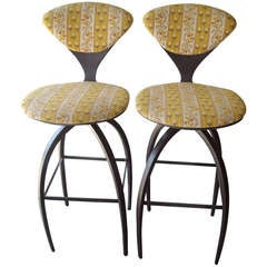 Plycraft Pair of Early Bentwood Bar Stools Designed for Norman Cherner
