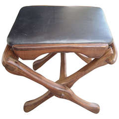 Don Shoemaker Rosewood and Leather Folding Stool, Senal Mexico