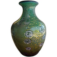 Hand Blown Green, Gold, Silver Foil Murano Vase by Giulio Radi for AVEM