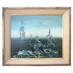 Georges Spiro Oil Painting on Canvas, Dated, Signed, Surrealism, Daliesque Style