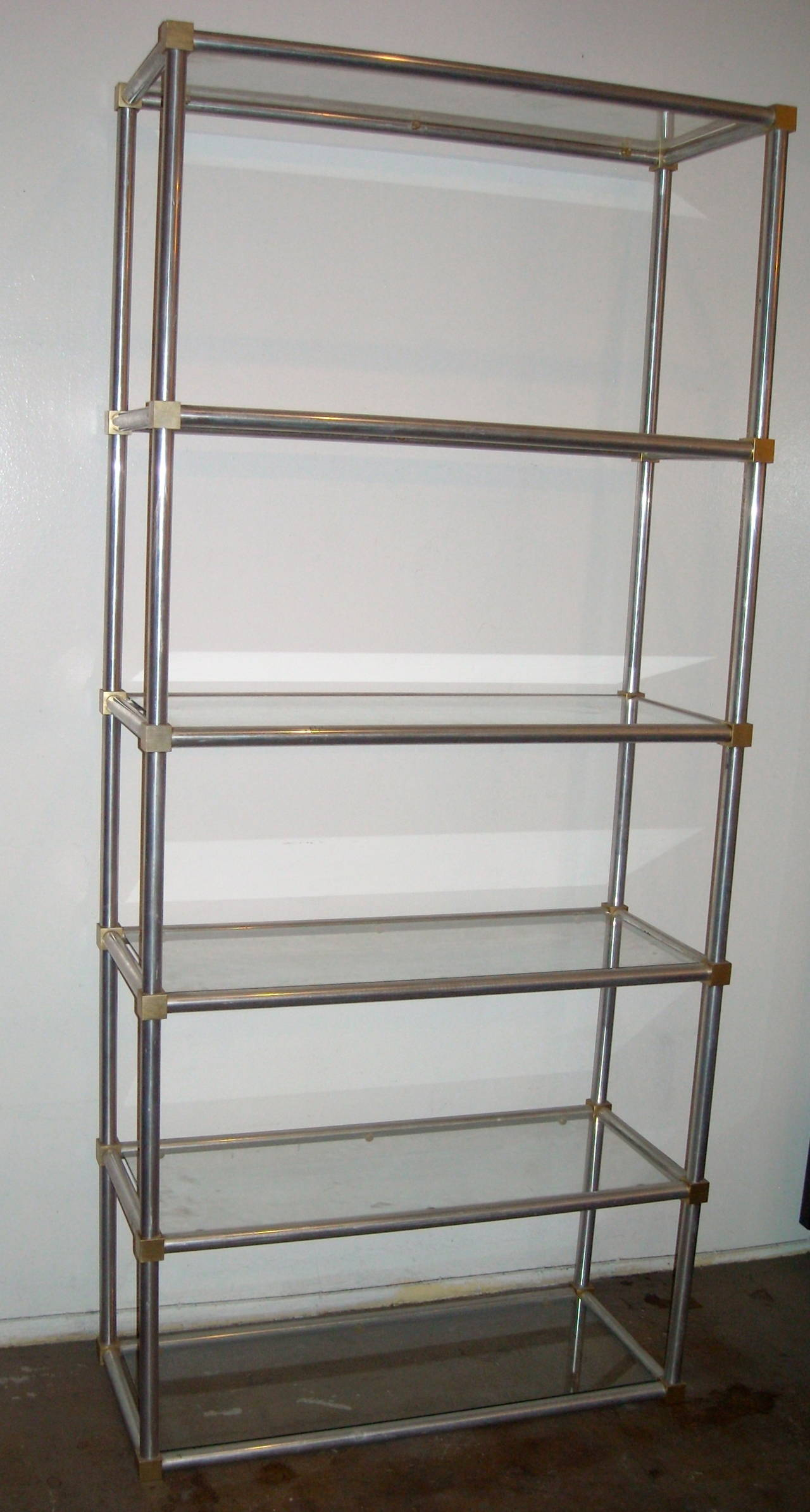 John vesey in the jansen style etagere in satin polished aluminum and brass f - Etagere aluminium design ...